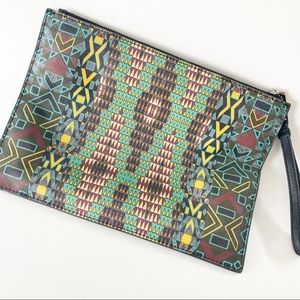 Anthropologie RAFE cosmetic bag wristlet tribal